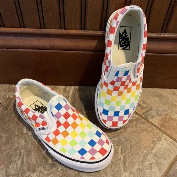 48367a7b10 NEW Vans Classic Slip on Rainbow Checkered Shoes. Vans.  M 5beb1341819e9002922e7a3d. M 5beb1343d6dc52f9bf6a872a.  M 5beb134445c8b3a95a0cb444
